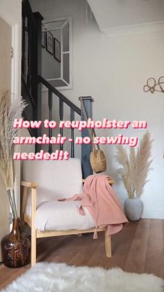 How to re-upholster an armchair on a budget - no sewing needed! Reupholster a chair with soft teddy fabric on a tight budget using velcro strips and a staple gun. Hack of a scandi-style White Company armchair you can DIY at home #armchair #upholstery #diyhacks Diy Furniture Chair, Furniture Update, Diy Chair, Repurposed Furniture, Furniture Makeover, Upholstered Arm Chair, Chair Upholstery, Re Upholster Chair, Armchair