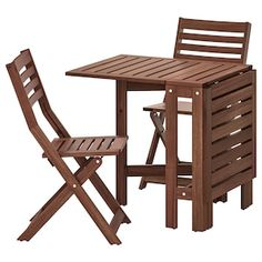 ÄPPLARÖ Table and 2 folding chairs, outdoor - brown stained - IKEA Outdoor Folding Chairs, Outdoor Dining Furniture, Patio Dining, Outdoor Tables, Outdoor Shop, Wooden Furniture, Furniture Ideas, Geek Furniture, Patio Chairs