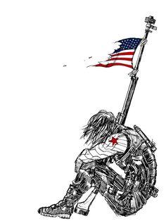"Captain America (MCU) - Bucky Barnes - winter soldier fanart by 1000skulls: ""Winter Soldier"" - visit to grab an unforgettable cool 3D Super Hero T-Shirt!"