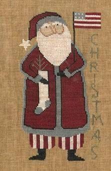 Primitive Cross Stitch Pattern  Santa's Flag by FiddlestixDesign, $10.00