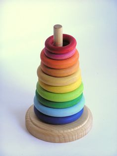 Wooden -rainbow Stacking Rings- Waldorf -montessori- Sizing Grasping Learning…