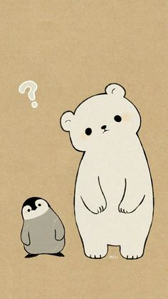 polar bear penguin drawing in cute animal drawings, cute - polar bear cute drawing Cute Disney Wallpaper, Kawaii Wallpaper, Cute Cartoon Wallpapers, Wallpaper Iphone Cute, Animal Wallpaper, Polar Bear Wallpaper, Spring Wallpaper, Pastel Wallpaper, Phone Wallpapers