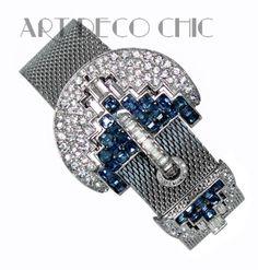 RARE-Art-Deco-Boucher-Sapphire-Diamante-Paste-Mesh-Slide-Buckle-Bracelet-NR