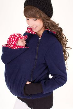 Baby carrying jacket, baby carrier coat, hoodie, 3in1, mother and baby, pregnancy, maternity clothing, fleece, navy + red with stars, TRIO