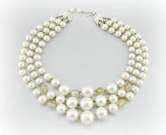Vintage Bead Necklace, JAPAN Necklace, White Pearl Necklace, Gold Crystal Necklace, Triple Multi-Strand, 1950 Wedding Bridal Costume Jewelry by RedGarnetVintage, $22.00
