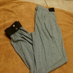 tibi. Gray Pants w/button band on Ankle Grey pants w/pockets Brown Suede around ankle ,waist band tibi Pants Ankle & Cropped