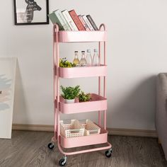 walsport This utility cart will make your rooms look neat and elegant, allowing everything to have its own place. It provides great feasibility to be used in the office, kitchen, bedroom, and bathroom. The multi-functional cart works great for saving your space! It is easy to move because of universal wheels. The metal mesh design allows water and dust to go through. It's also convenient storage. You can place the kitchen implements, toiletries, potted plants, or wine bottle. | walsport 4… Pink Dorm Rooms, Pink Room, Best Dorm Rooms, Pink Bedrooms, Room Design Bedroom, Room Ideas Bedroom, Office In Bedroom Ideas, College Bedroom Decor, Dorm Room Designs