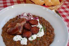 Lencsefőzelék - Eszterlánc főz Food And Drink, Chicken, Meat, Essen, Cubs
