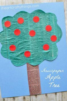 newspaper-apple-tree-craft