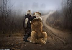 Boy's best friend: The youngsters were photographed with rabbits, dogs, cats and ducks as they become immersed in their silent communication...