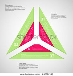 Illustration infographic with shape of triangle which consists of three parts each from two color ribbons with unique number and letter and space for own text