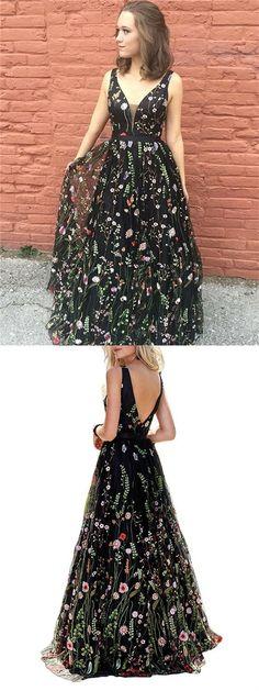 Floral Prom Dresses, A-line Prom Dresses, V-neck Prom Dresses, Long Pr   PopularBridal