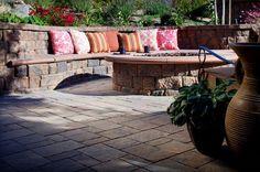 backyard. paver seat wall
