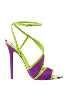 Brian Atwood Spring-Summer 2014 collection is rich with glamorous shoes that we believe are a pleasant surprise to all shoes lovers . With these shoes you will look different from others, glamorous, stylish and trendy in every occasion. Zapatos Shoes, Shoes Heels, Strappy Heels, Lila Gold, Green Sandals, Lime Green Heels, Green Pumps, Purple Heels, Black Pumps
