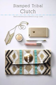 Cheap Crafts To Make and Sell - Stamped Tribal Clutch - Inexpensive Ideas for DIY Craft Projects You Can Make and Sell On Etsy, at Craft Fairs, Online and in Stores. Quick and Cheap DIY Ideas that Adults and Even Teens Can Make on A Budget http://diyjoy.com/cheap-crafts-to-make-and-sell