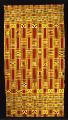 Africa | Man's wrapper from the Ashanti people of Bonwire, Ghana | Mid 1900s | Silk