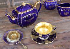 https://www.facebook.com/HelensRoyalTeaHouse  http://www.etsy.com/shop/HelensRoyalTeaHouse   Cobalt blue Sadler teapot and vintage China
