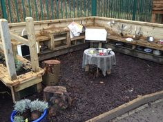 Mud Kitchen Gallery – Cool Canvas (pic only, for now)pjr Outdoor Learning Spaces, Outdoor Play Areas, Outdoor Fun, Preschool Garden, Sensory Garden, Outdoor Classroom, Outdoor School, Mud Kitchen, Outdoor Playground