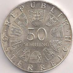 Wertseite: Münze-Europa-Mitteleuropa-Österreich-Schilling-50.00-1972-Universität Salzburg Salzburg, Austro Hungarian, Austria, Coins, Personalized Items, World, Vintage, Dom, Old Coins