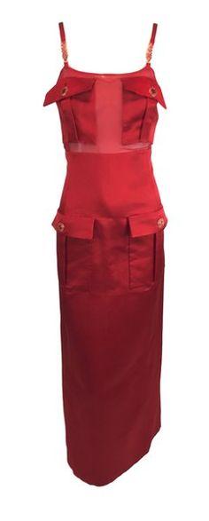 e17aaabb08d F W 1996 Gianni Versace Runway Red Sheer Silk Gown Dress