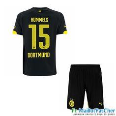 Nouveau Maillots Dortmund BVB noir Enfant HUMMELS 15 Exterieur 15 2016 2017