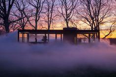 fujiko nakaya wraps the glass house in a veil of dense fog