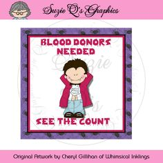 Blood Donor Neeed Glass Block Graphic - jpg file can also be resized - Digital…