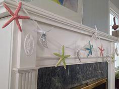 Starfish and Oyster Shell Christmas Holiday Garland - Starfish Decor - Starfish Garland @By The Seashore (carol)