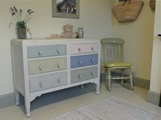 Quirky Pastel Painted Set Of Drawers