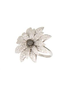 Catherine Angiel Rings :: Catherine Angiel white gold, white diamonds and black diamonds Flower ring   Montaigne Market