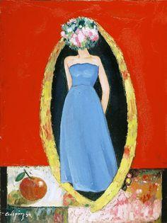 Bernardo CRESPIN : Sin titulo (la Mujer del Vestido Azul) ; 1994 ; oleo ; 61cm x 45cm ; colección MDAA (adquirido de la galería Humberto Saravia)
