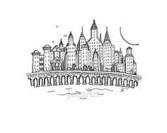 town / castle doodle