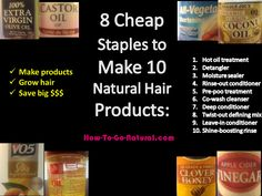 How to Make 10 Natural Hair Products w/ These 8 Cheap Staples: Hot oil treatm. - How to Make 10 Natural Hair Products w/ These 8 Cheap Staples: Hot oil treatment, detangler, - Natural Hair Inspiration, Natural Hair Tips, Natural Hair Journey, Natural Hair Styles, Going Natural, Black Hair Care, Natural Haircare, Deep Conditioner, Hair Care Tips