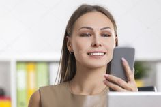 Close up of blond woman looking at phone - Stock Photo , #spon, #woman, #blond, #Close, #Photo #AD