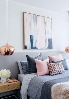 grey pink blue bedroom blush white and grey bedroom inspiration loft bedroom and. - Pink Bedroom For Teens grey pink blue bedroom blush white and grey bedroom inspiration loft bedroom - Bedroom Themes, Bedroom Colors, Home Decor Bedroom, Bedroom Designs, Diy Bedroom, Copper Bedroom Decor, Bedroom Images, Bedroom Layouts, Bedroom Styles