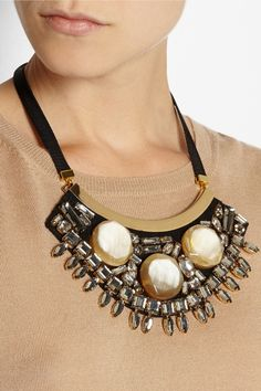 Marni | Gold-plated, horn and crystal necklace | NET-A-PORTER.COM