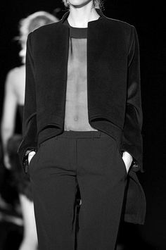 Structured jacket, sheer top & trousers; chic fashion details // Hakaan Fall 2011