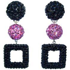 Mod 1980's Go Go Girl Style Pave Crystal Dangle Earrings
