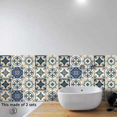 AmazingWall Moroccan Style Faux Tiles Sticker Home Decoration Kitchen Bathroom Wall Decor Art Decal Mural Self Adhesive 10 Pcs Vinyl Wall Tiles, Self Adhesive Wall Tiles, Decorative Wall Tiles, Tile Decals, Vinyl Art, Tile Stickers Kitchen, Bathroom Wall Stickers, Bathroom Wall Decor, Room Decor
