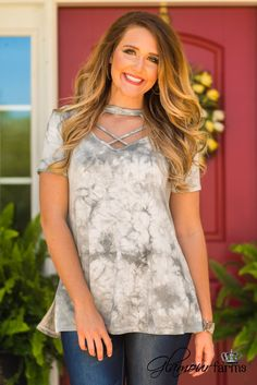 Tie Dye Another Day Top - Light Gray