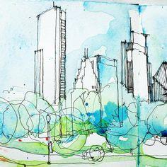 "876 Likes, 8 Comments - Simone Ridyard (@simoneridyard) on Instagram: ""Left hand side of the sketch from Buckingham Fountain, Chicago #chicago #buckinghamfountain…"""