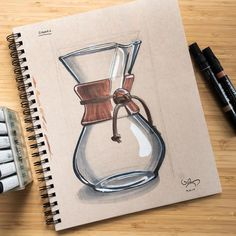 Good coffee makes the world go round. Marker rendering of my Chemex.