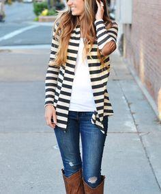 So Perla Charcoal Stripe Elbow Patch Cardigan | zulily