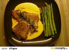 Servírování tuňáka s omáčkou a chřestem Asparagus, Beef, Vegetables, Food, Meat, Veggies, Essen, Veggie Food, Vegetable Recipes