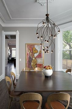Interior design ideas, home decorating photos and pictures, home design, and contemporary world architecture new for your inspiration. Home Modern, Modern Rustic, Modern Wall, Space Architecture, Dining Room Lighting, House Lighting, Dining Room Design, Dining Rooms, Dinning Set