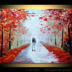 Couple LOVE Romantic Painting Red ORIGINAL Large Modern House Fine art --impasto TEXTURE -- Palette knife Landscape oil Landscape by IraSher. $125.00, via Etsy.