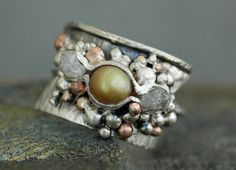 Raw Diamonds and Copper Pearl in Textured Sterling by Specimental