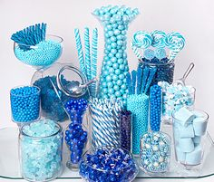 Blue Candy Buffet with Salt Water Taffy, Peppermint cubes, and Sixlets available at Sweet Delights.
