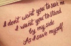 I don't want you to save me...
