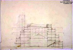 Section. Gordon Strong Automobile Objective, Sugarloaf Mountain, MD, 1924-25   Frank Lloyd Wright   Exhibitions - Library of Congress   Frank Lloyd Wright Drawings